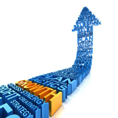 비즈니스 성장 화살표, 3d 렌더링, 흰색 배경