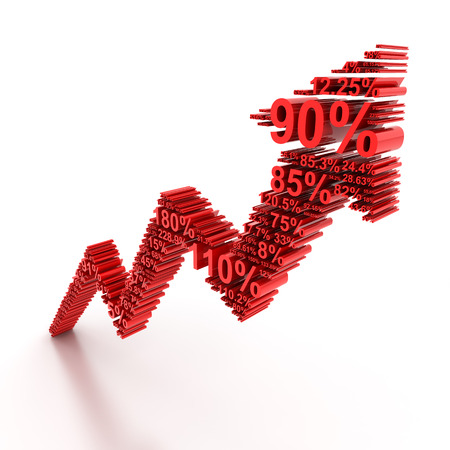 percentages: Rising arrow formed by numbers, 3d render Stock Photo