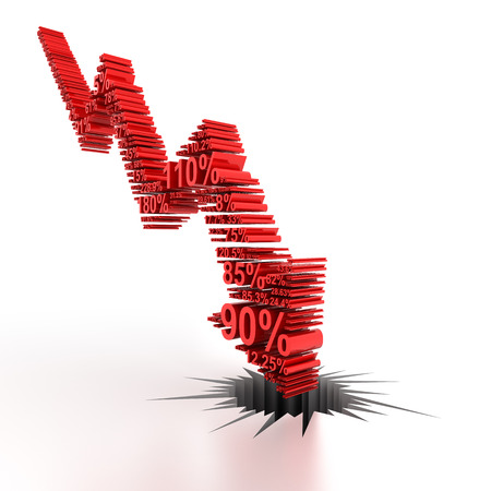 Downward arrow formed by numbers, 3d render