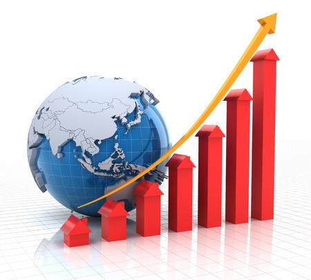 Immobilier de courbe de croissance avec un globe terrestre, 3d render, fond blanc Banque d'images