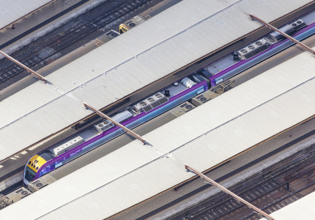railway transportations: Aerial view of modern train in a railway station Stock Photo
