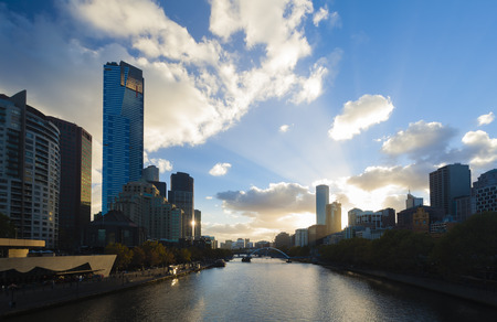 View of modern buildings in Melbourne, Australia at sunset Stok Fotoğraf