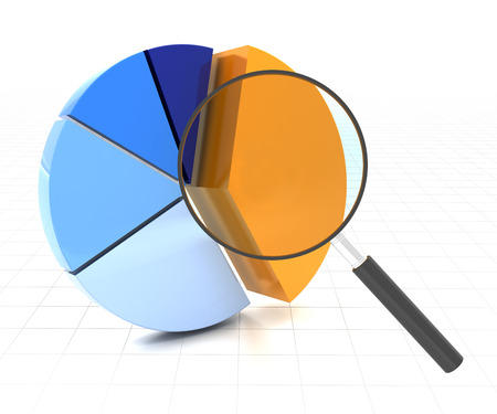 3d render of pie chart with a magnifying glass over the major segment