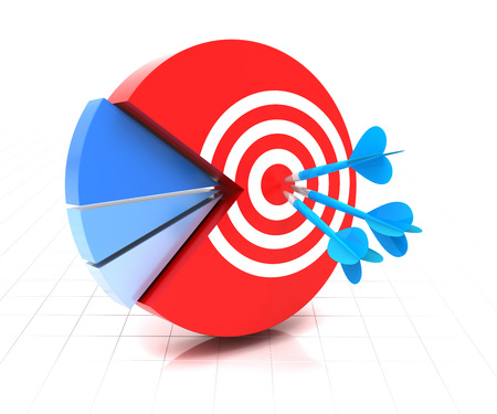 3d render of pie chart with target and darts on the major segment