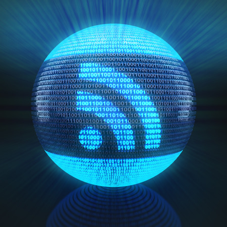 rss feed icon: RSS icon on globe formed by binary code, 3d render Stock Photo
