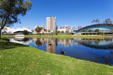 View of the Riverbank Precinct of Adelaide in South Australia in daytime 스톡 콘텐츠