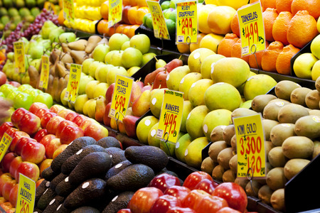 grocery store: Fruits in a market in Adelaide, South Australia Stock Photo