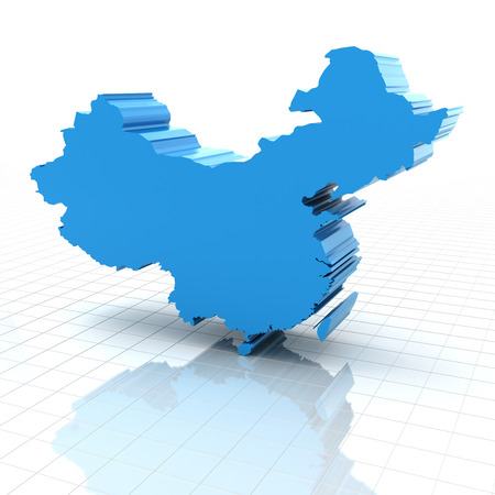 china map: 3d render of extruded map of China, white background Stock Photo