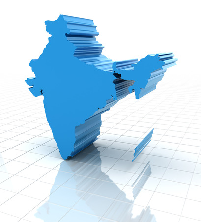 extruded: 3d render of extruded map of India, white background