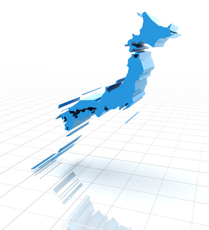 extruded: 3d render of extruded map of Japan, white background