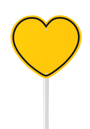 traffic pole: Heart shaped road sign with copyspace, 3d render