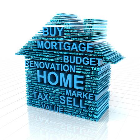 不動産に関係する言葉によって形成された家の 3 d レンダリング
