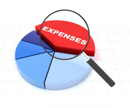 3d render of a pie chart with magnifying glass over the word expenses