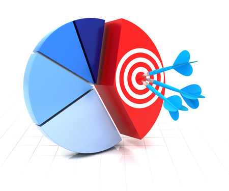 target business: 3d render of pie chart with target and darts on a segment