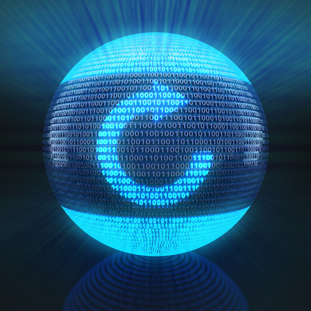 binary globe: Refresh symbol on globe formed by binary code, 3d rende Stock Photo