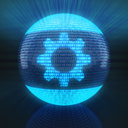rende: Gear symbol on globe formed by binary code, 3d rende Stock Photo