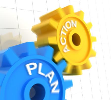 plan de accion: Plan de acción y engranajes con el desenfoque de movimiento, 3d