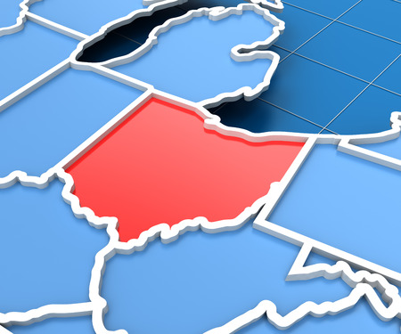 3d Render Of Usa Map With Ohio State Highlighted In Red Stock Photo 39588560