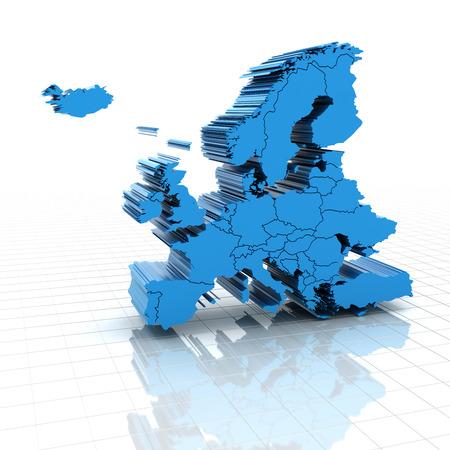 extruded: Mappa estruso d'Europa con i confini nazionali, rendering 3d Archivio Fotografico