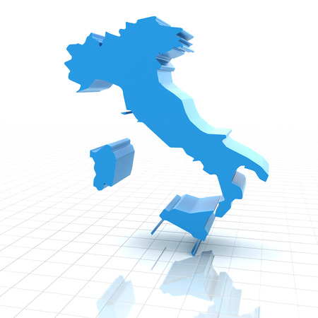 extruded: Extruded map of Italy,3d render, white background Stock Photo