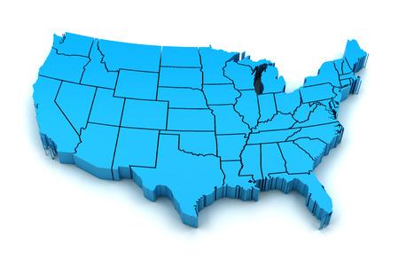 Kaart van de VS met staatsgrenzen, 3d renderen