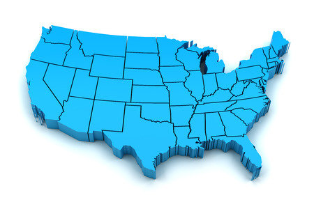 Map of USA with state borders, 3d render Banco de Imagens