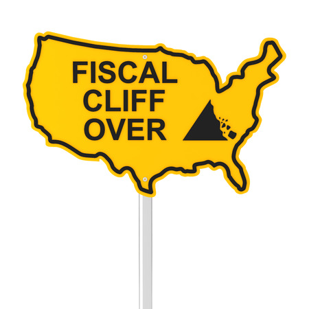 fiscal: USA fiscal cliff over concept, 3d render