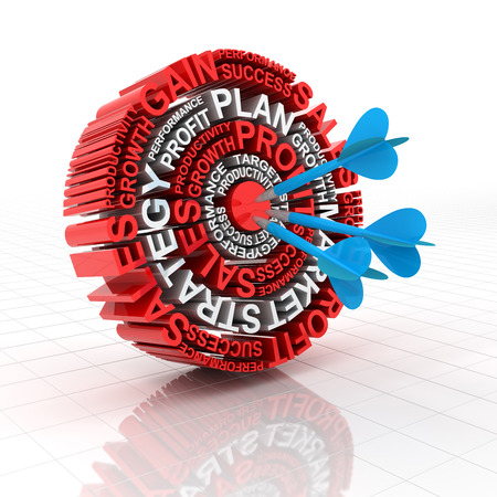 dartboard: 3d render of a target formed by words related to business Stock Photo