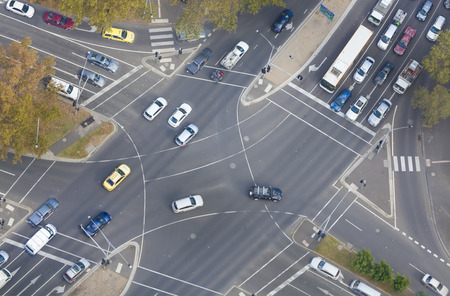 Top down view of an intersection in a city