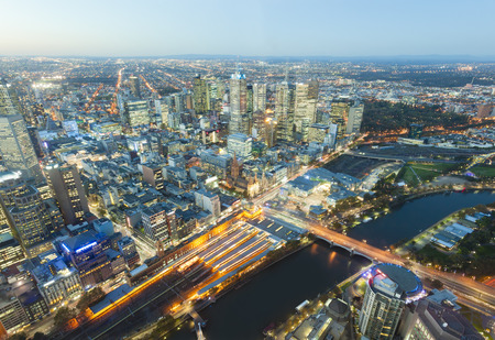 victoria: View of modern buildings in Melbourne, Australia at sunset Stock Photo