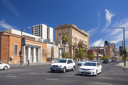 adelaide: Adelaide, Australia - March 14, 2015: View of historical buildings along North Terrace in downtown Adelaide, Australia