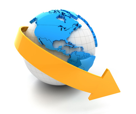 downward: 3d render of globe with downward arrow, white background Stock Photo