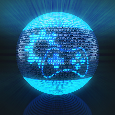 Gaming icon with gear on globe formed by binary code, 3d render photo