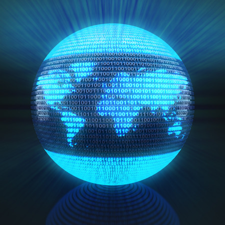 binary globe: World map on globe formed by binary code, 3d render Stock Photo