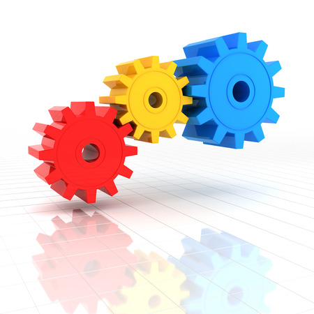 cooperate: 3d render of colourful gears with reflection, white background