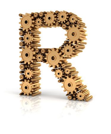 metallic: Alphabet R formed by metallic golden gears, 3d render