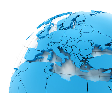 spain map: Globe of Europe with national borders, 3d render