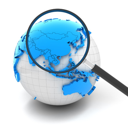 asia: Globe with magnifying glass over China and Asia, 3d render Stock Photo
