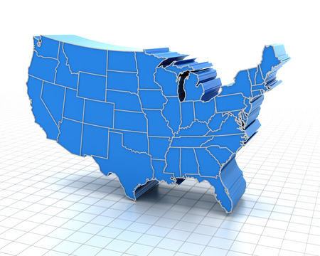 extruded: Extruded map of USA with state borders, 3d render Stock Photo