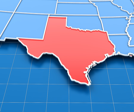 texas state: 3d render of USA map with Texas state highlighted in red