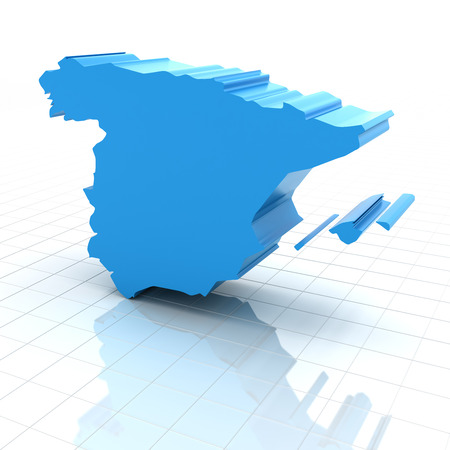 extruded: Extruded map of Spain,3d render, white background Stock Photo