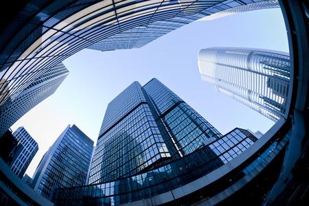 Syscrapers in Hong Kong in daytime, blue tone, fisheye view