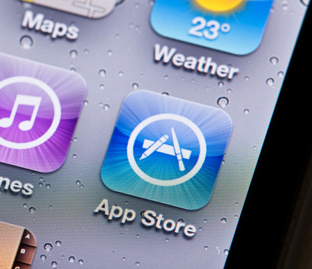 Hong Kong, China - June 25, 2011: Close-up view of the App Store icon on an iPone