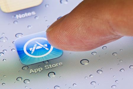 Hong Kong, China - July 23, 2011: Macro image of clicking the App Store icon on an iPad screen