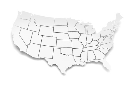 Extruded Map Of North America With National Borders D Render - Us map with state lines