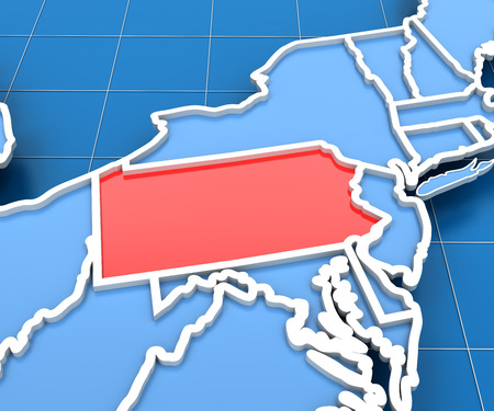 3d render of USA map with Pennsylvania state highlighted in red