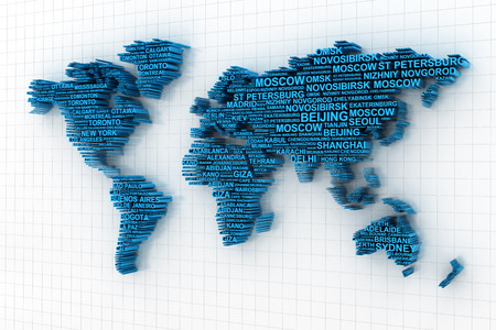 major: 3d render of world map formed by names of major cities