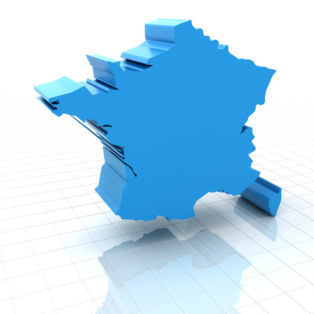 extruded: Extruded map of France,3d render, white background