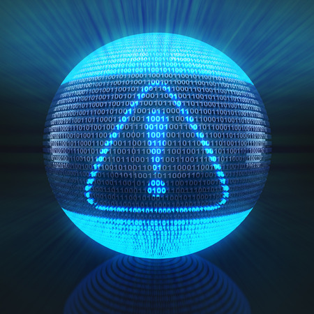 binary globe: Alert symbol on globe formed by binary code 3d render Stock Photo