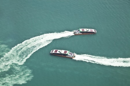passenger ships: Top down view of two passenger ships passing by